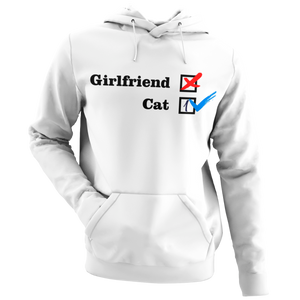 NO Girlfriend - Cat 1 -- Collection -- White Pullover Hoodie --- Wear Pet