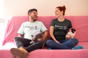 NO Girlfriend - NO Boyfriend - White and Black t-shirts - Photo of roomies-wearing-t-shirts-on-the-couch-with-their-2-cats - Wear Pet