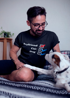 Photo-of-a-man-wearing-a-black-t-shirt-smiling-at-his-dog--No-Boyfriend-Collection-Cat-1-Dog-1--Wear-Pet
