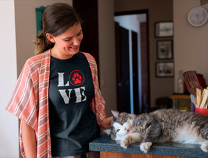 Photo-of-a-woman-caressing-her-cat-Wear_Pet-I-love-Pets-tshirt
