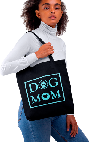 Photo-of-a-woman-with-curly-hair-wearing-a-black-tote-bag-WearPet-DOG-MOM