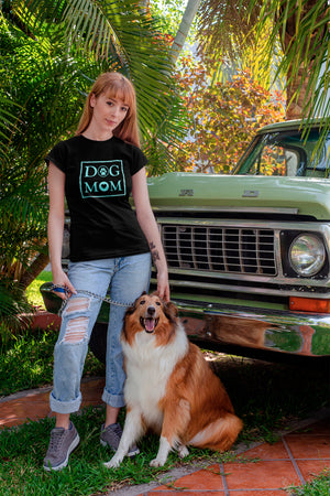 Photo-of-a-woman-with-her-dog-next-to-an-old-car-wearing-a-Black-t-shirt-WearPet-DOG-MOM