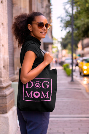 Photo-of-a-woman-with-sunglasses-on-a-sidewalk-Black-tote-bag-WearPet-DOG-MOM