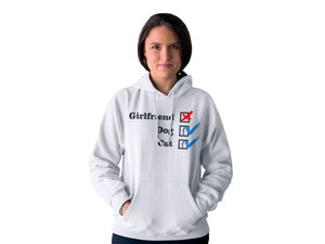 Photo-of-a-young-woman-wearing-a-white-pullover-hoodie-NO Girlfriend Collection - Dog 1 - Cat 1 --- Wear Pet