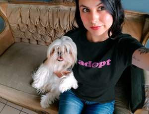 Photo of a Woman-wearing-black tee-while-taking-a-selfie-with-her-dog - Wear_Pet - Adopt Collection