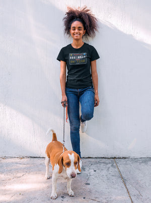 Photo of a girl with her dog wearing a Black tshirt - Wear_Pet - DOG WALK ON TIME