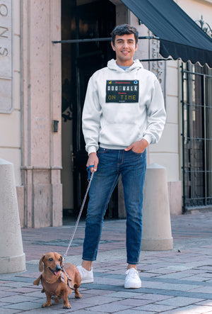 Photo of a guy with his dog wearing a white hoodie - Wear Pet - DOG WALK - ON TIME