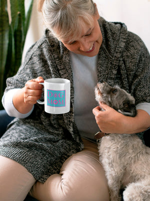 Photo of an old lady with her dog holding a 11oz mug - Wear Pet - DOG MOM