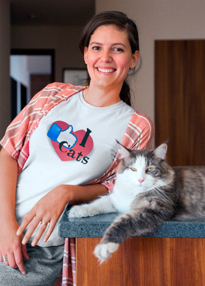 Photo of a woman posing with her cat wearing a I Like Cats t-shirt - WearPet