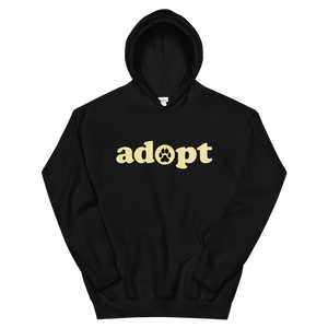 ADOPT - Unisex Black Pullover Hoodie - Wear Pet