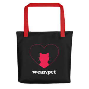 Back - Black tote bag with red straps - I love my Cat - Wear Pet