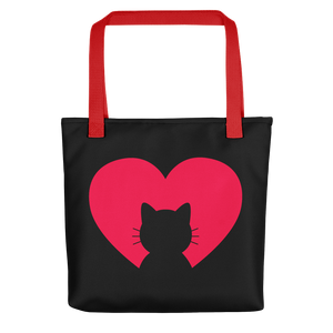 Front - Black tote bag with red straps - I love my Cat - Wear Pet