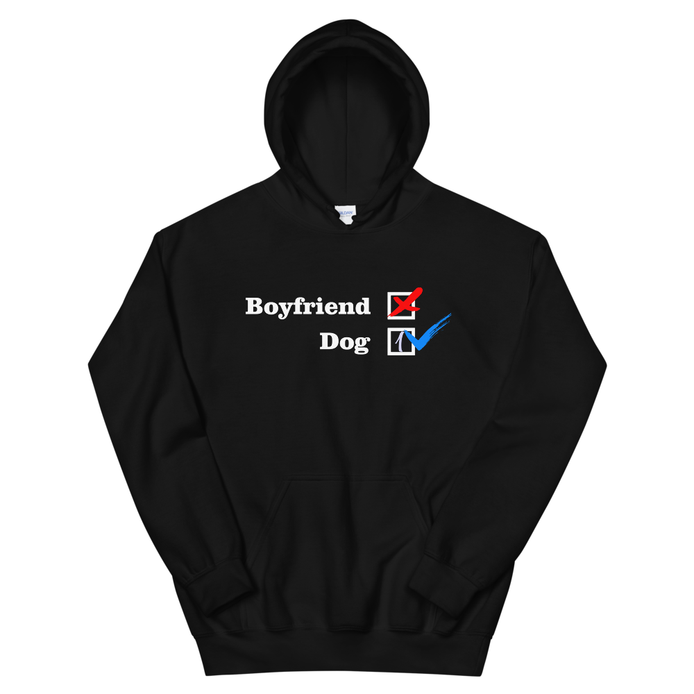 ❌ NO Boyfriend | Dog 1 ✔ - Black Unisex Pullover Hoodie - Wear Pet