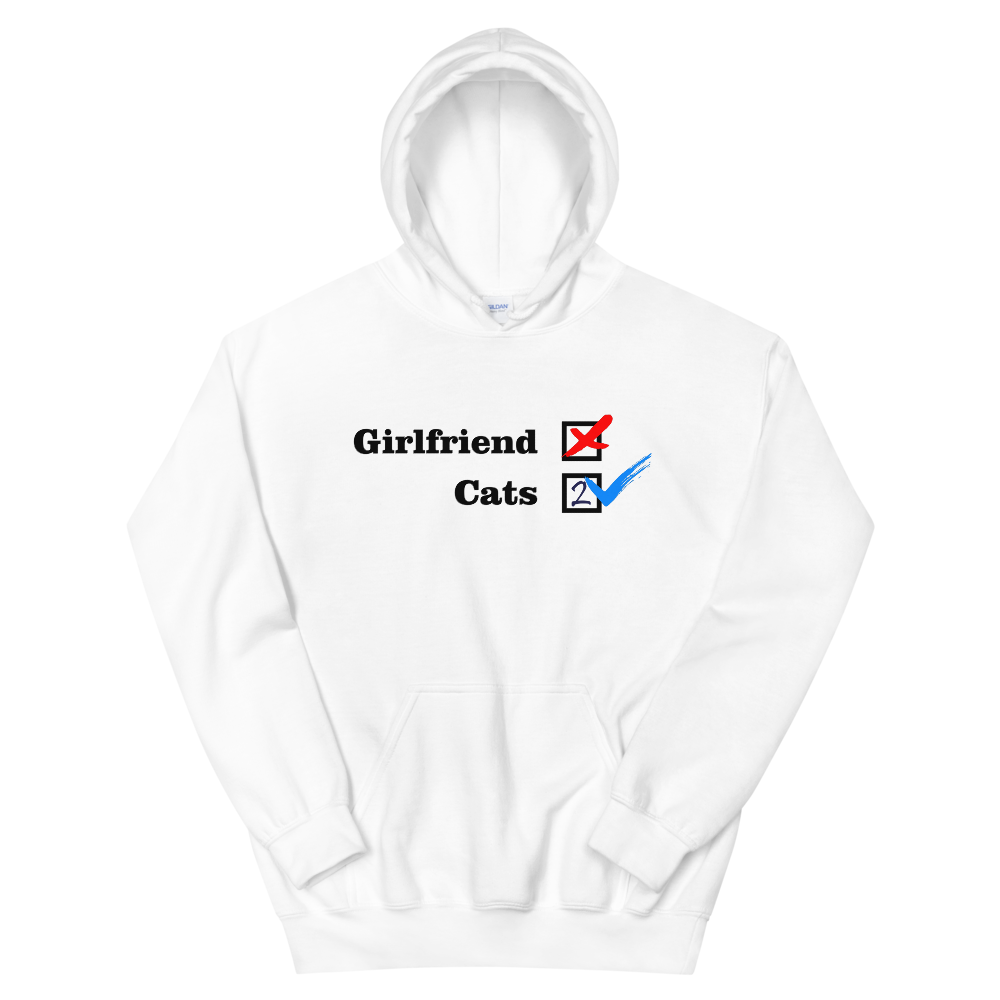❌ NO Girlfriend | Cats 2 ✔ - White Unisex Pullover Hoodie - Wear Pet