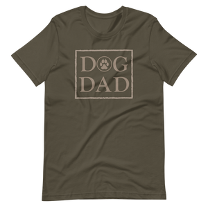 Army color t-shirt with a stamp on the front, DOG DAD in beige. - Wear Pet