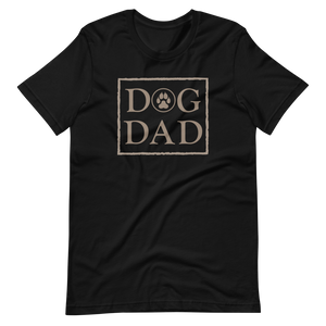 Black color t-shirt with a stamp on the front, DOG DAD in beige. - Wear Pet