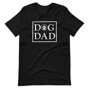 Black color t-shirt with a stamp on the front, DOG DAD in white. - Wear Pet