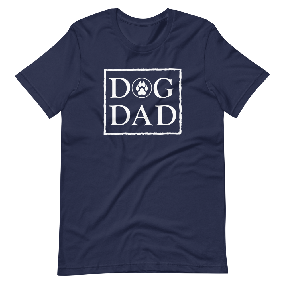 Navy color t-shirt with a stamp on the front, DOG DAD in white. - Wear Pet