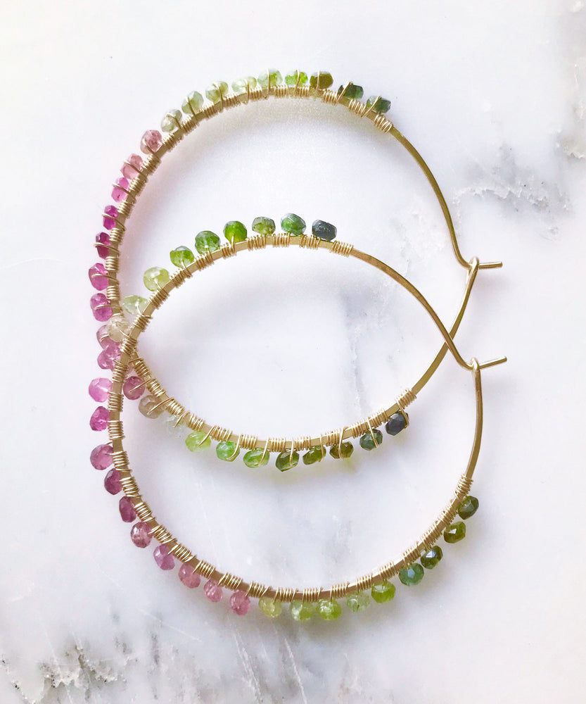 Sirena Gemstone Hoop Earrings
