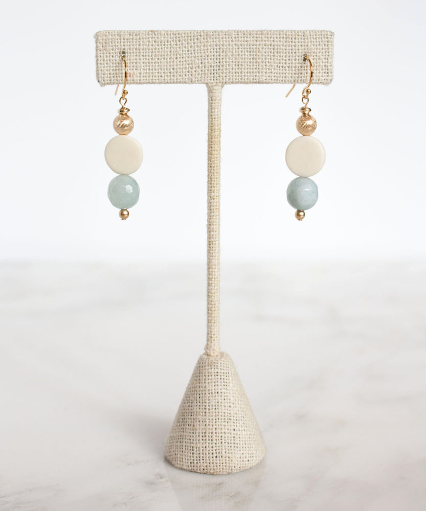 Load image into Gallery viewer, Hampton Circle Drop Earrings | Aquamarine