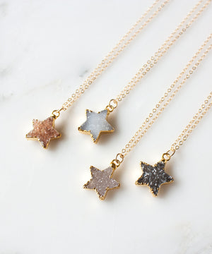 Load image into Gallery viewer, Celeste Druzy Star Necklace