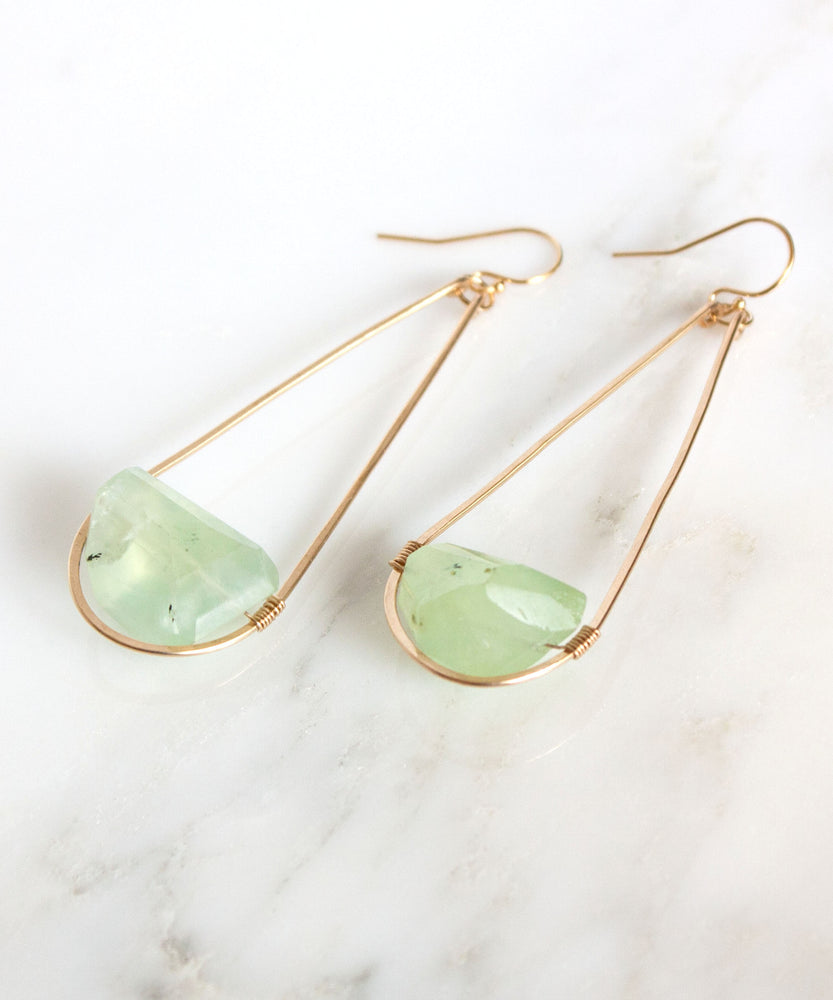 Load image into Gallery viewer, Hampton Long Teardrop Earrings | Prehnite