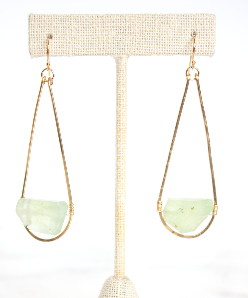 Hampton Long Teardrop Earrings | Prehnite