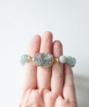Load image into Gallery viewer, Palm Beach Druzy Bracelet Set | Aquamarine