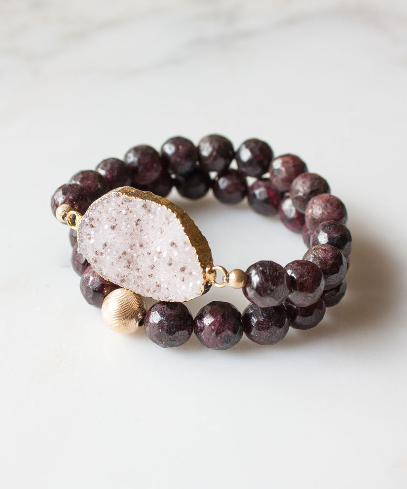 Load image into Gallery viewer, Cabernet Druzy Accent Bracelet | Garnet
