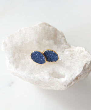 Load image into Gallery viewer, Carrie Druzy Stud Earrings | Sapphire