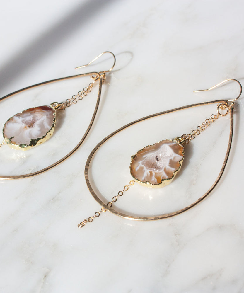 Load image into Gallery viewer, Jane Geode Slice Earrings | Large