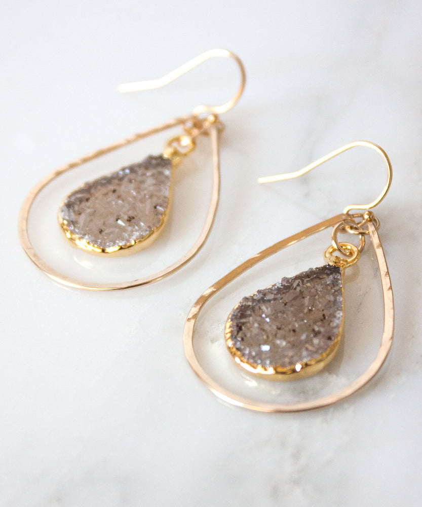 Della Druzy Teardrop Earrings | Small