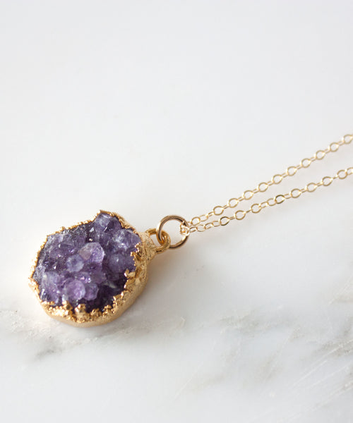 Della Raw Amethyst Druzy Necklace