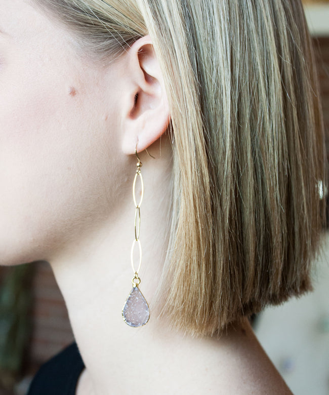 Sloane Druzy Drop Earrings