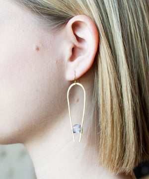 Load image into Gallery viewer, Adele Suspended Drop Earrings | Blue Quartz