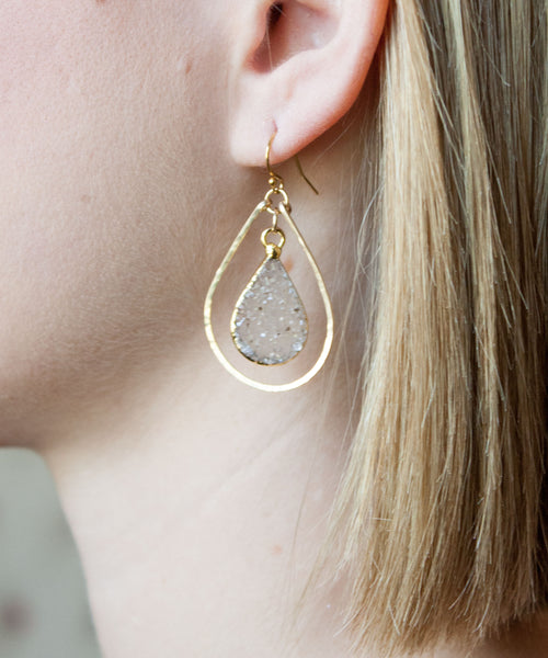 Della Druzy Teardrop Earrings Small