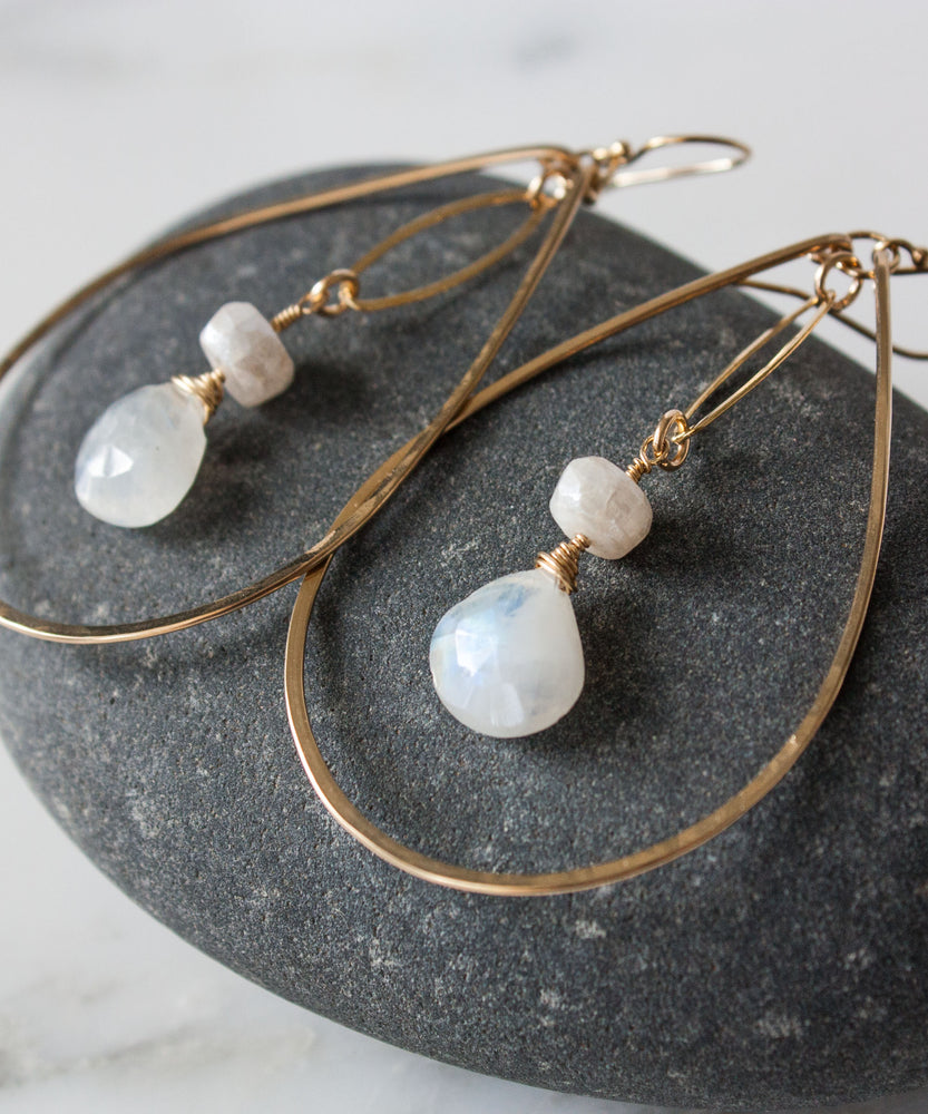 Load image into Gallery viewer, Brie Marquis Drop Earrings | Moonstone