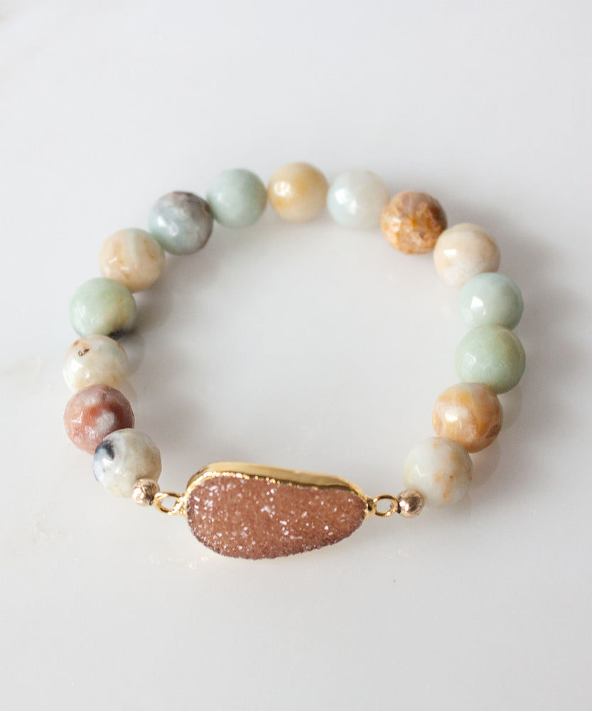 Load image into Gallery viewer, Joss Druzy Accent Bracelet | Multi-Amazonite