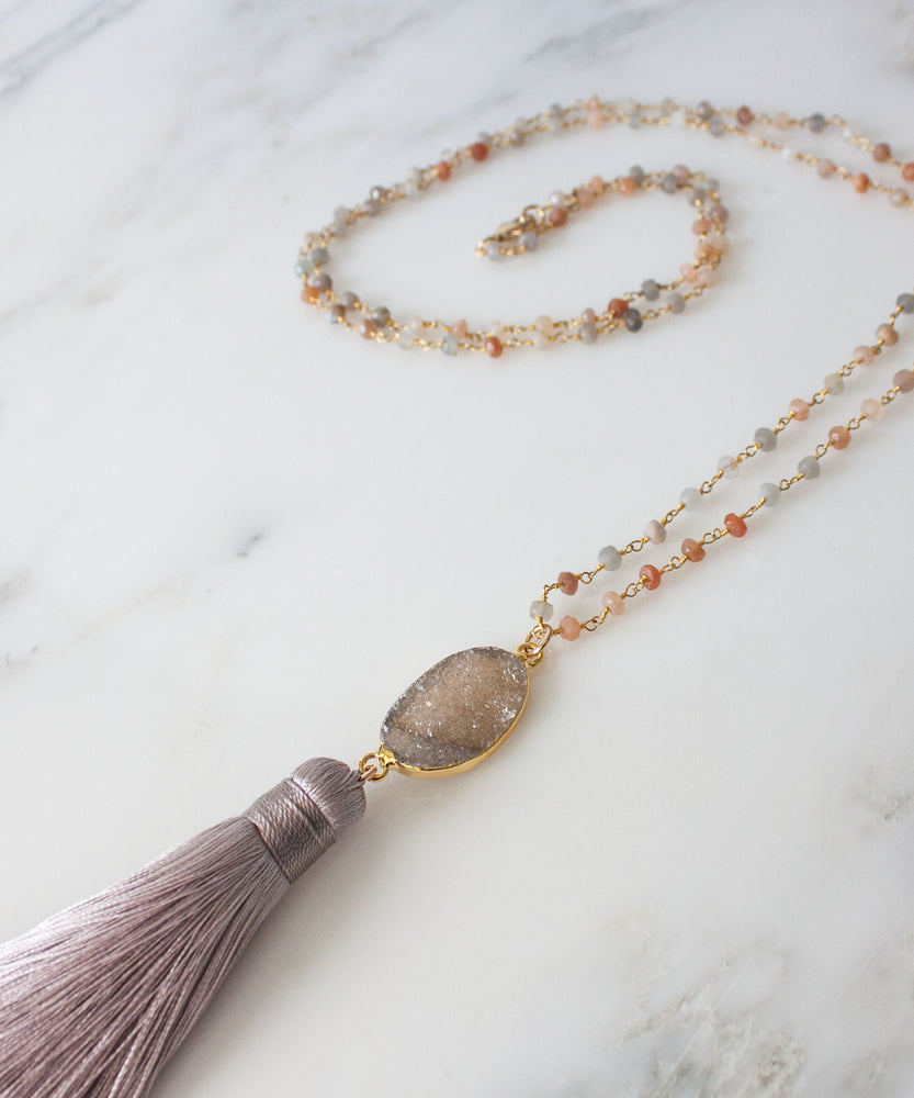 Della Druzy Tassel Necklace | Moonstone
