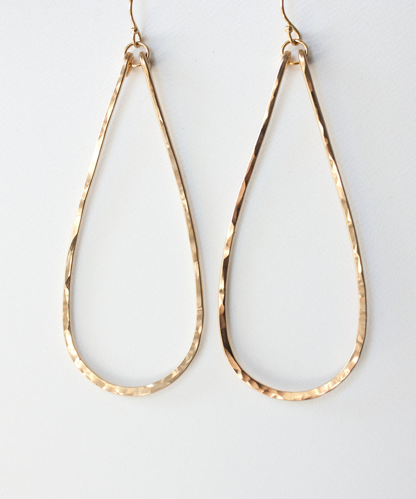 Eva Long Teardrop Earrings | Gold