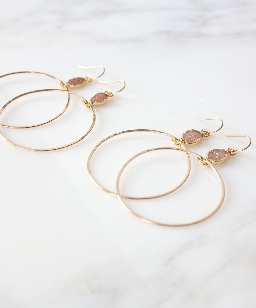 Sloane Druzy Hoop Earrings