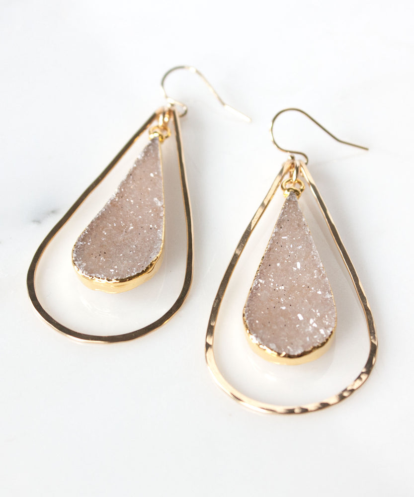 Sloane Luxe Druzy Statement Earrings