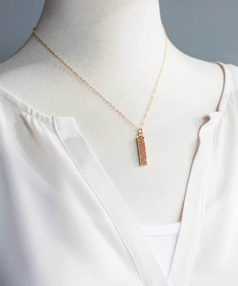 Zara Petite Druzy Bar Necklace
