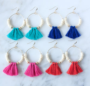 Catalina Tassel Statement Earrings | Cobalt