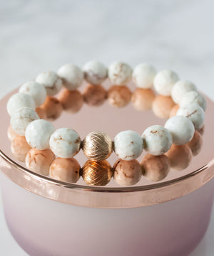 Load image into Gallery viewer, Lattice Stack Bracelet | White Turquoise