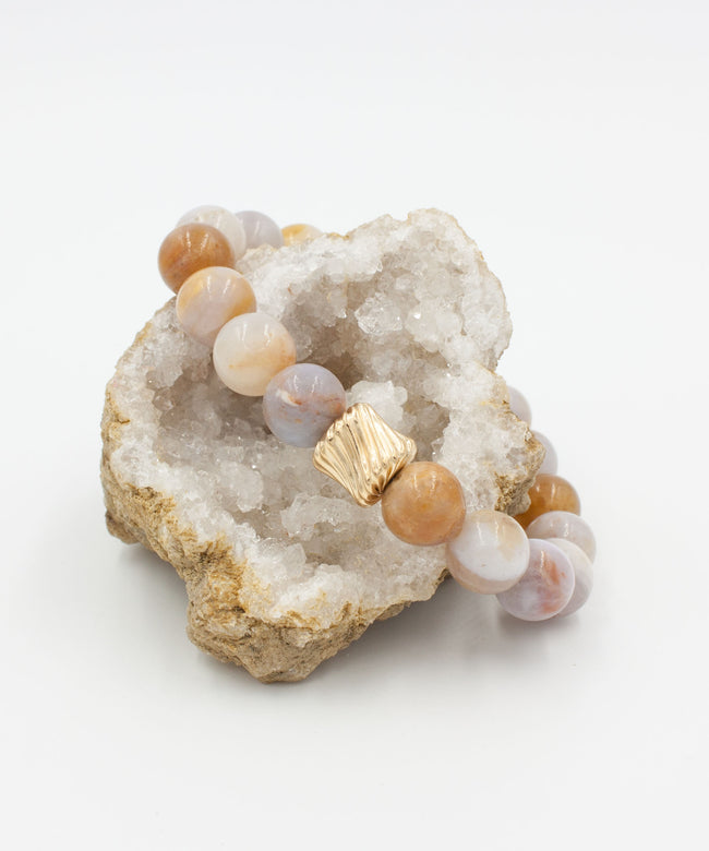 Gold Twist Stack Bracelet | Light Brown Agate