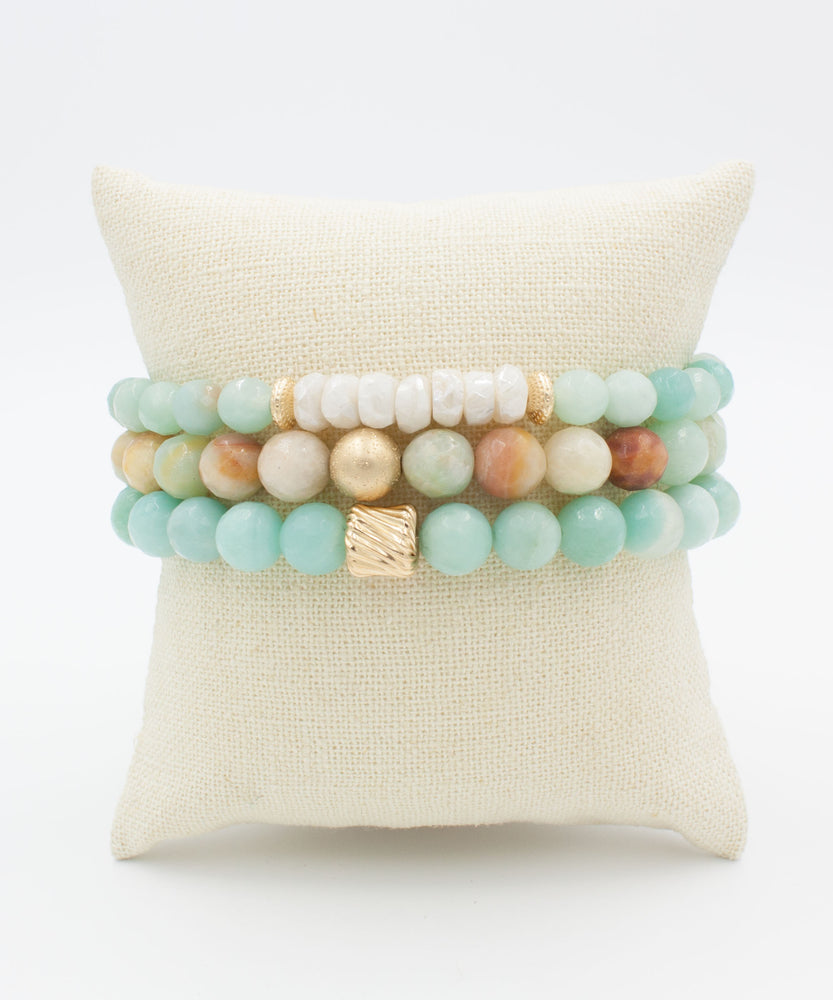 Gold Twist Stack Bracelet | Amazonite