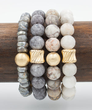 Load image into Gallery viewer, Gold Twist Stack Bracelet | Cloud Agate