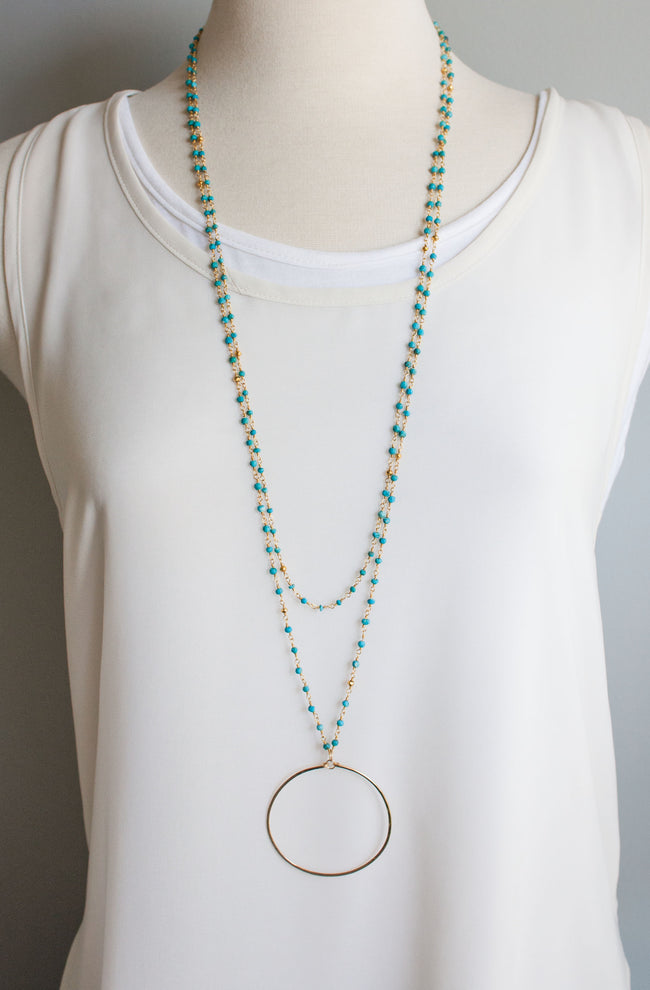 Catalina Circle Layers Necklace | Turquoise