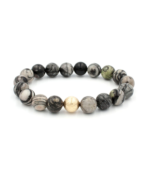 Lattice Stack Bracelet | Black Jasper